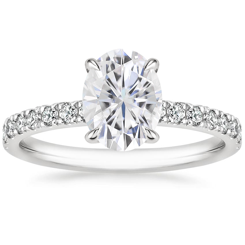 Moissanite Clara Diamond Ring in 18K White Gold