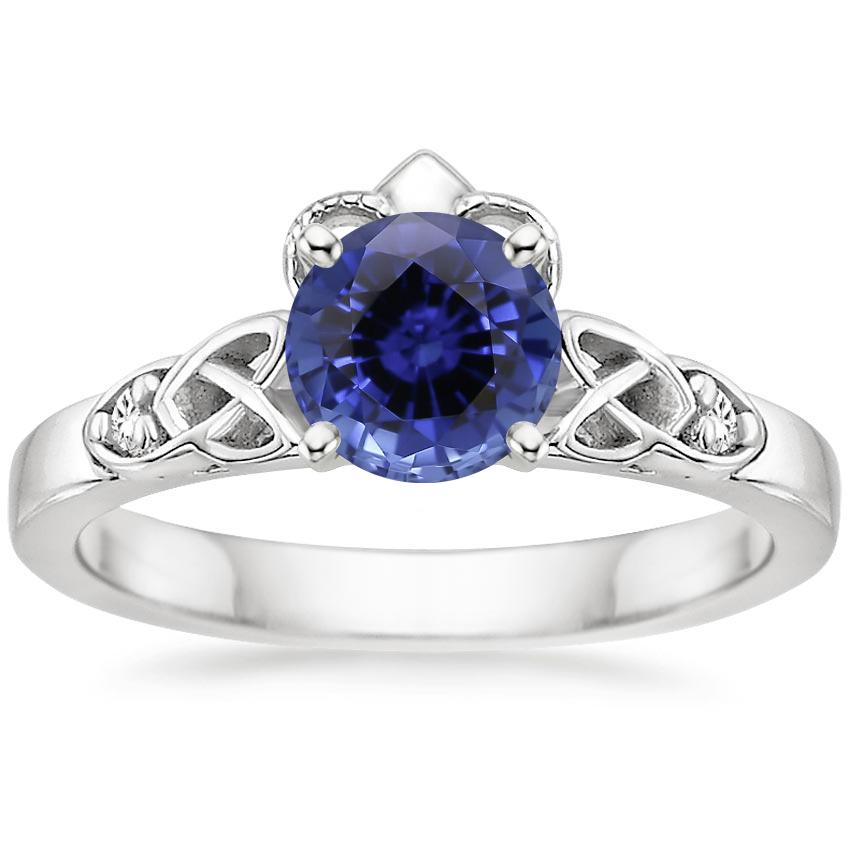 Sapphire Celtic Claddagh Diamond Ring in Platinum