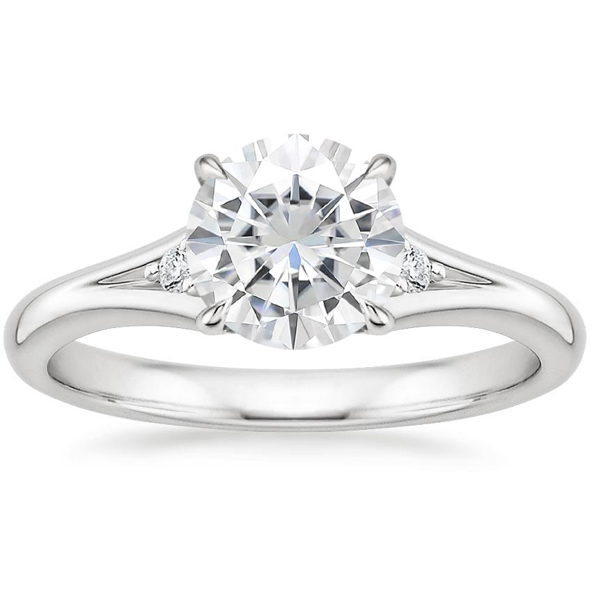 Moissanite Lena Diamond Ring in 18K White Gold