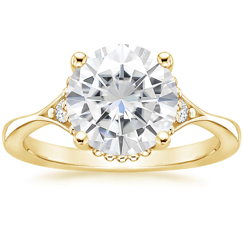 Yellow Gold Moissanite Dolce Diamond Ring