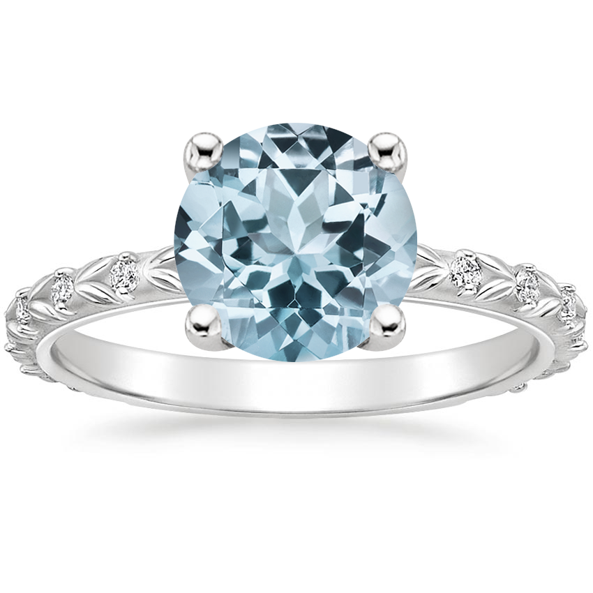 Aquamarine Hollie Diamond Ring in 18K White Gold