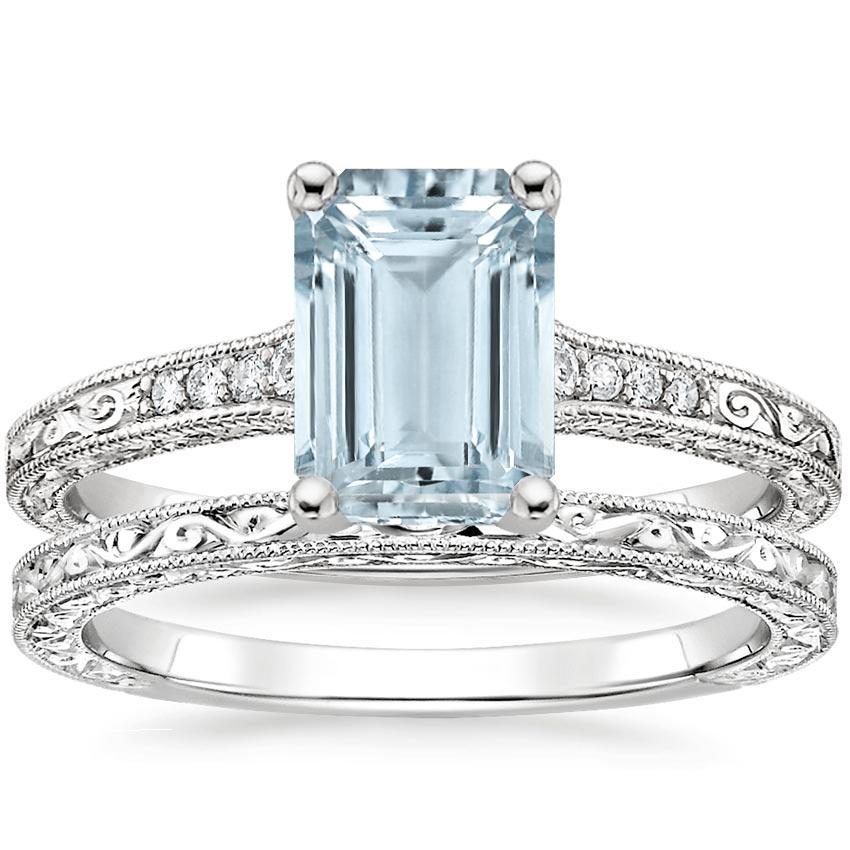 PT Aquamarine Luxe Hudson Diamond Bridal Set, top view