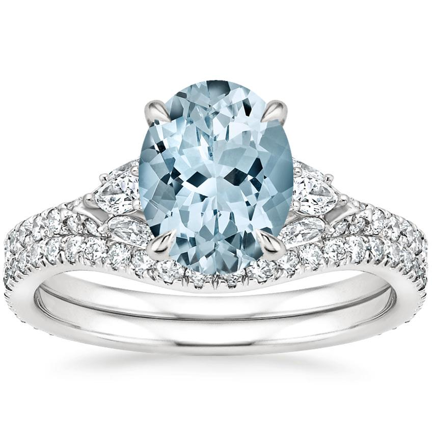 18KW Aquamarine Ava Diamond Bridal Set (3/4 ct. tw.), top view