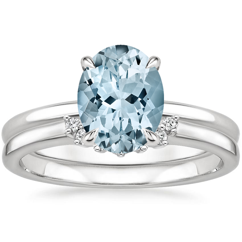 PT Aquamarine Elodie Ring with Crescent Diamond Ring, top view