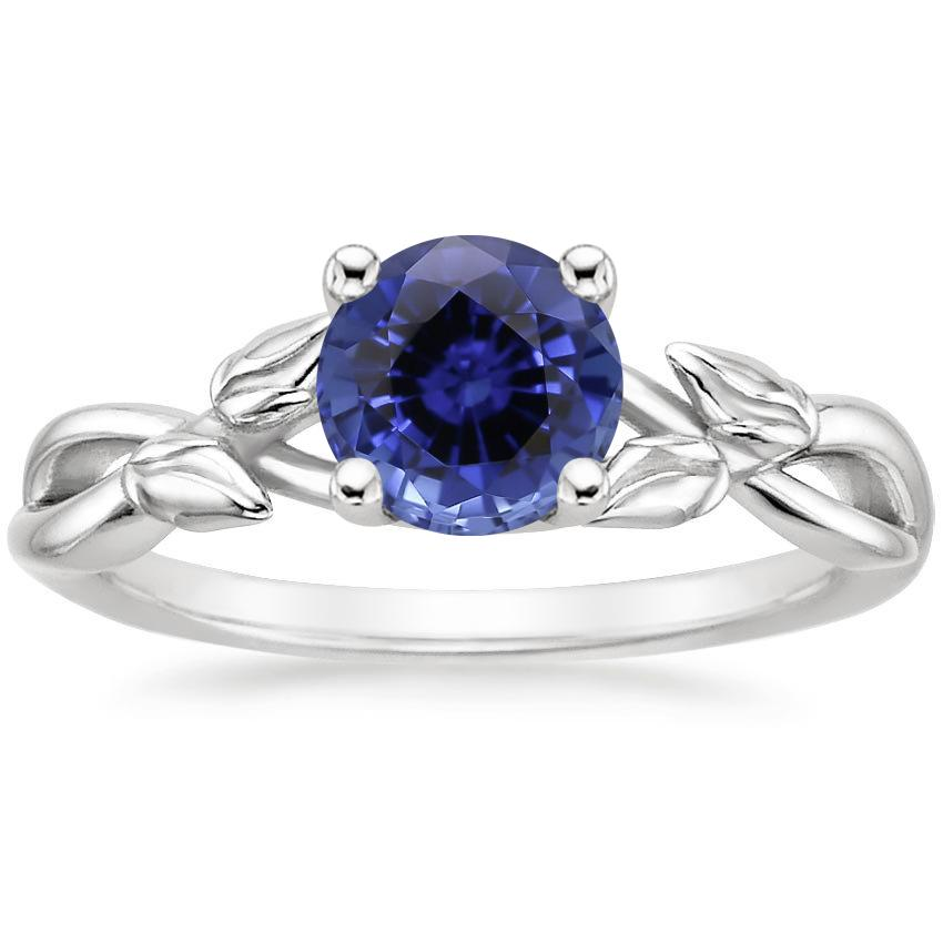Sapphire Budding Willow Ring in 18K White Gold