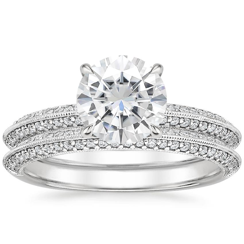 PT Moissanite Callista Diamond Bridal Set (1/3 ct. tw.), top view