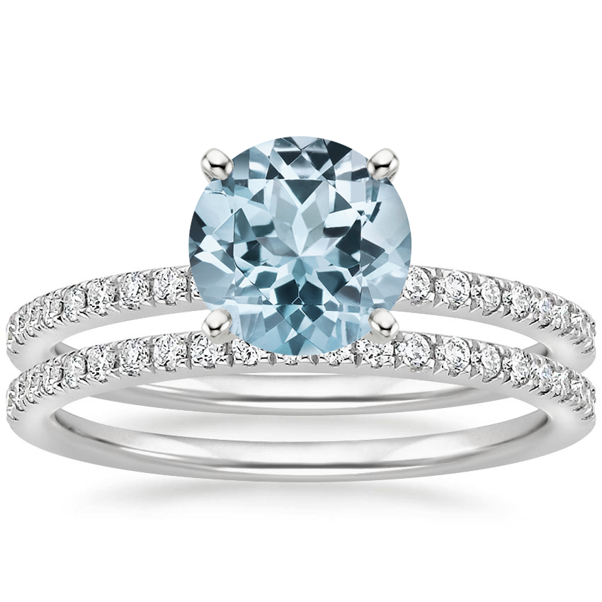 PT Aquamarine Ballad Diamond Bridal Set (1/3 ct. tw.), top view