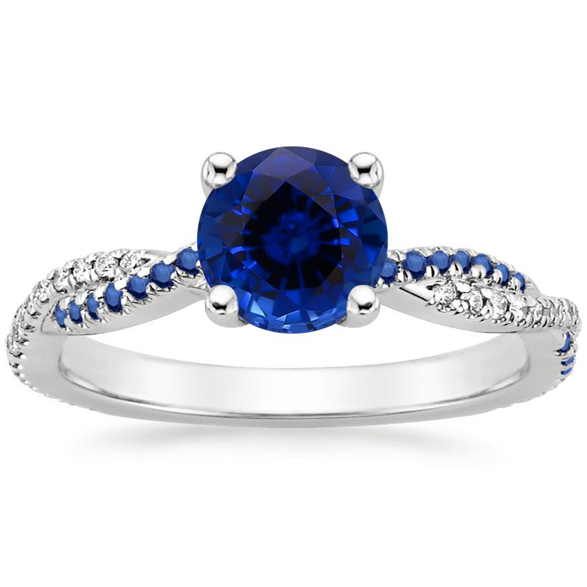 Sapphire Petite Luxe Twisted Vine Sapphire and Diamond Ring (1/8 ct. tw.) in Platinum