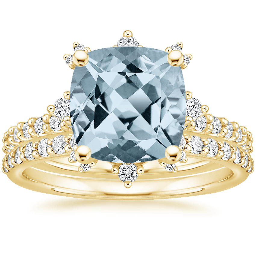 18KY Aquamarine Arabella Diamond Bridal Set (1/2 ct. tw.), top view
