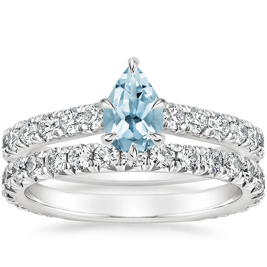 18KW Aquamarine Luxe Sienna Diamond Bridal Set (1 1/8 ct. tw.), top view