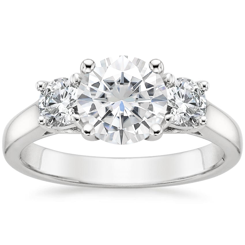 Moissanite Three Stone Trellis Diamond Ring (1/2 ct. tw.) in 18K White Gold