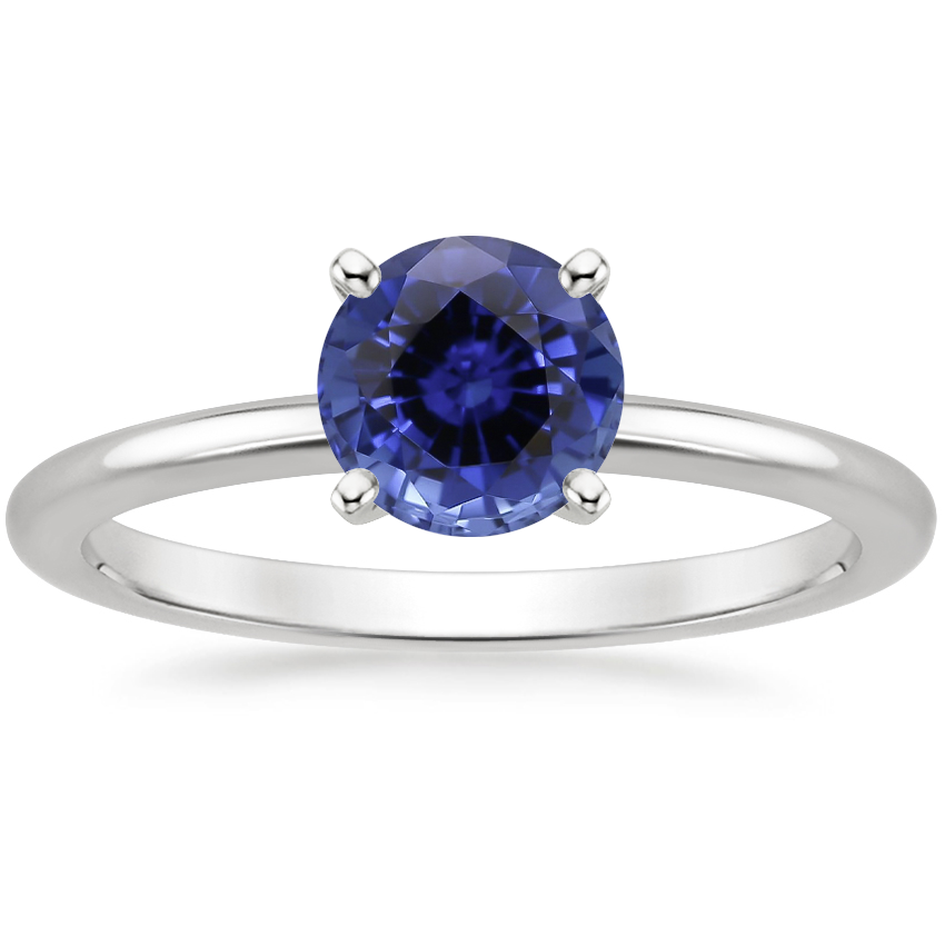 Sapphire Four-Prong Petite Comfort Fit Ring in 18K White Gold