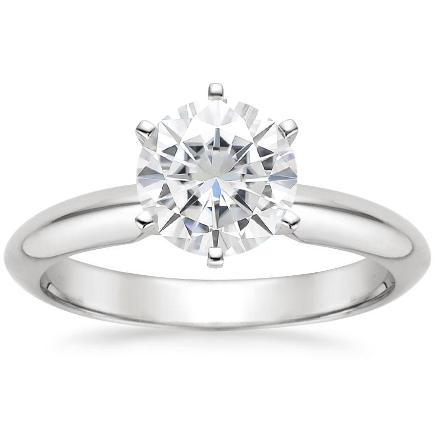 Moissanite Six-Prong Classic Ring in 18K White Gold