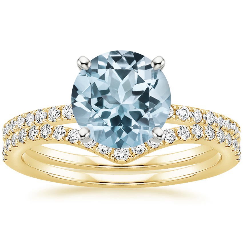18KY Aquamarine Ballad Diamond Ring (1/8 ct. tw.) with Flair Diamond Ring (1/6 ct. tw.), top view