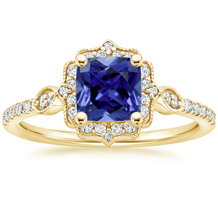 Yellow Gold Sapphire Cordelia Diamond Ring (1/4 ct. tw.)