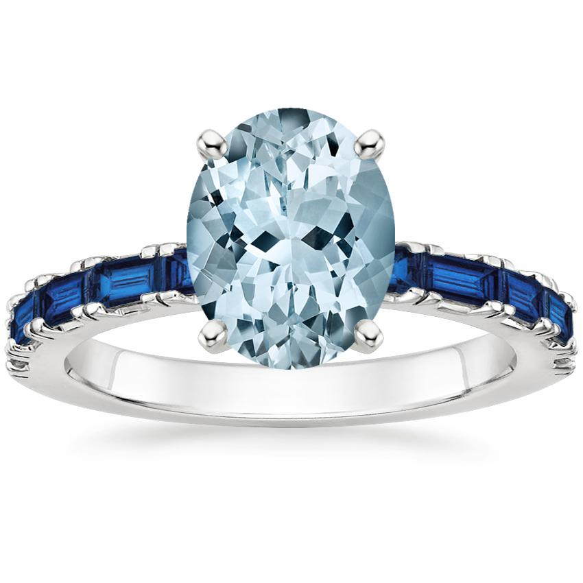 Aquamarine Gemma Ring with Sapphire Accents in 18K White Gold