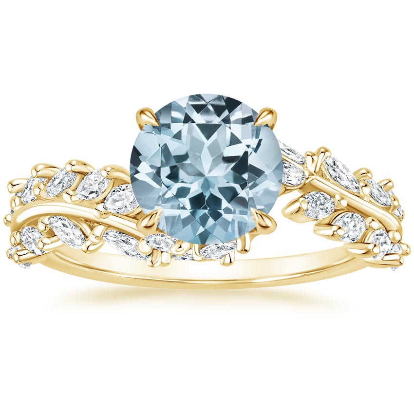 Yellow Gold Aquamarine Winding Ivy Diamond Ring (3/4 ct. tw.)