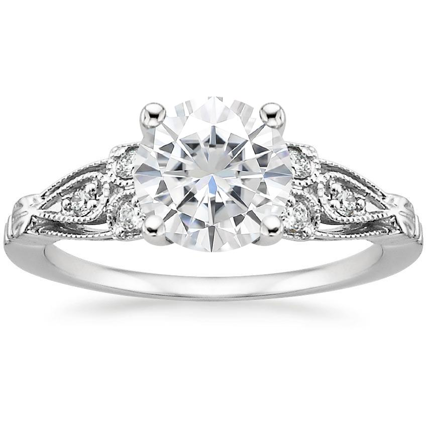 Moissanite Rosabel Diamond Ring in 18K White Gold