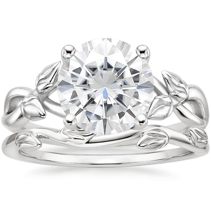 18KW Moissanite Budding Willow Ring with Winding Willow Ring, top view