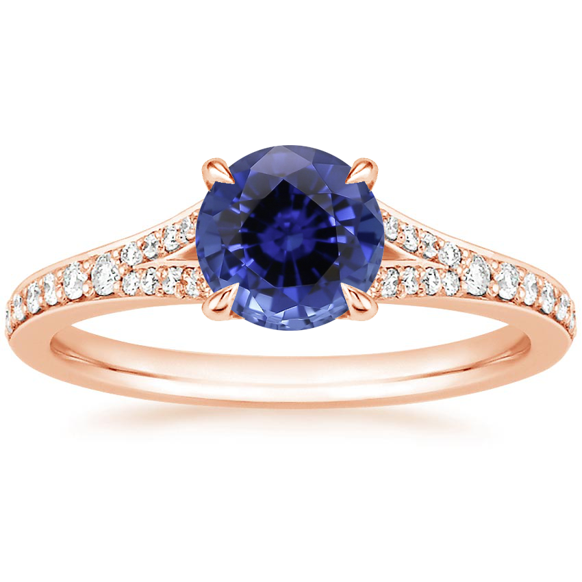 Rose Gold Sapphire Duet Diamond Ring