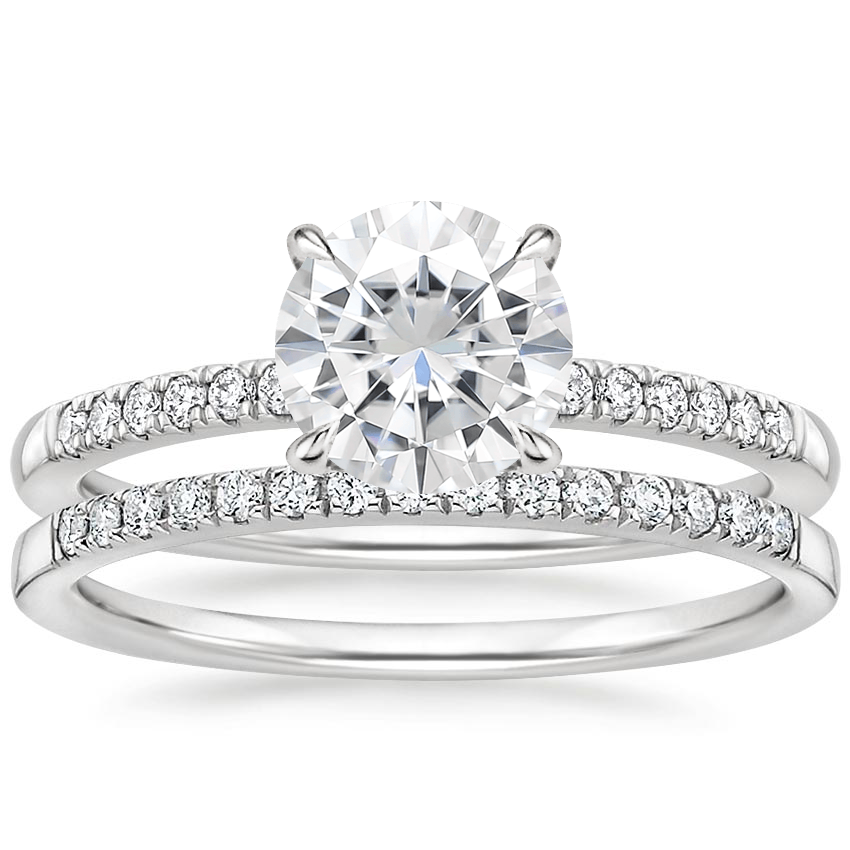 PT Moissanite Petite Viviana Diamond Bridal Set (1/4 ct. tw.), top view