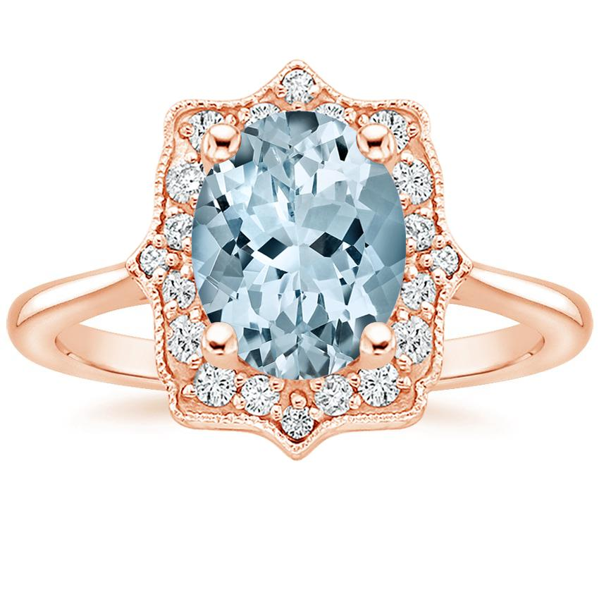 Rose Gold Aquamarine Coralie Diamond Ring