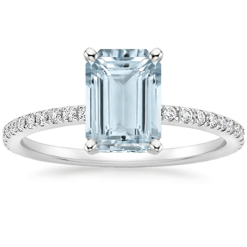 Aquamarine Luxe Ballad Diamond Ring (1/4 ct. tw.) in 18K White Gold
