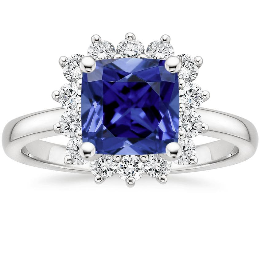 Sapphire Sunburst Diamond Ring (1/4 ct. tw.) in 18K White Gold