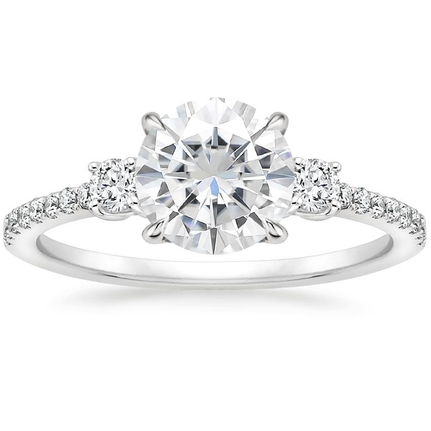 Moissanite Lyra Diamond Ring (1/4 ct. tw.) in 18K White Gold