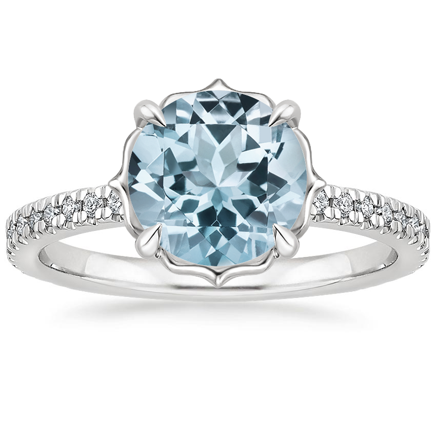 Aquamarine Magnolia Diamond Ring in 18K White Gold