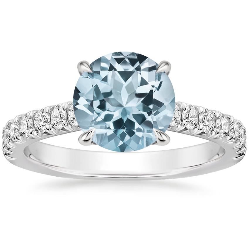 Aquamarine Sienna Diamond Ring (3/8 ct. tw.) in 18K White Gold