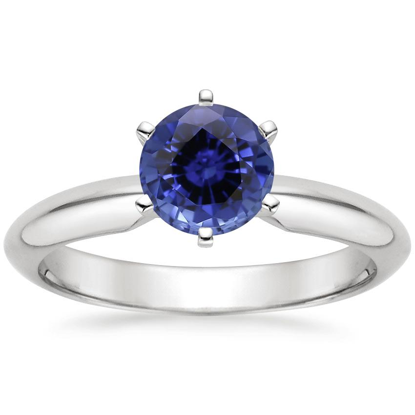 Sapphire Six-Prong Classic Ring in 18K White Gold