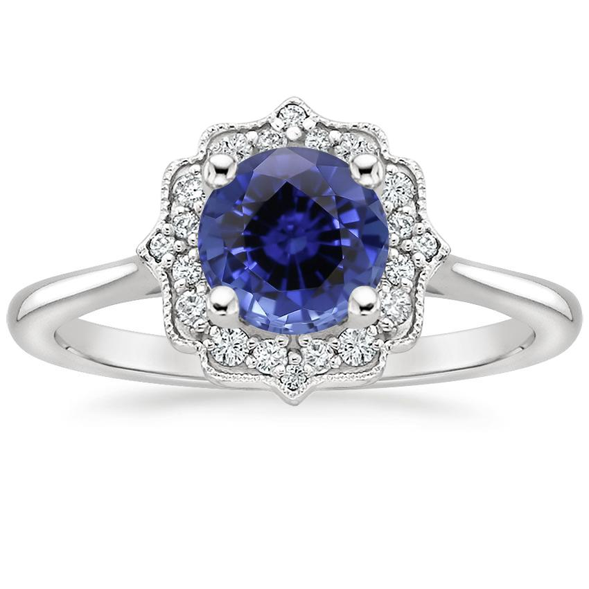 Sapphire Coralie Diamond Ring in 18K White Gold