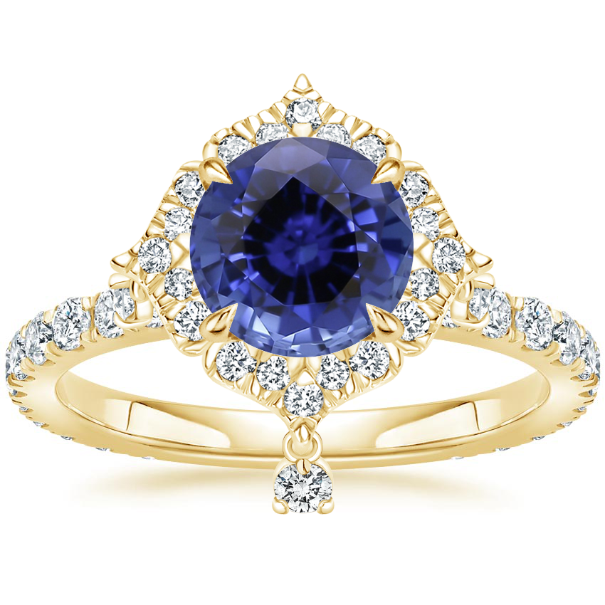 Yellow Gold Sapphire Summer Rain Diamond Ring (3/4 ct. tw.)