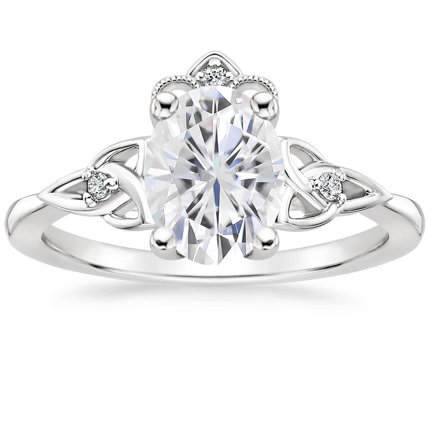 Moissanite Celtic Crown Diamond Ring in 18K White Gold