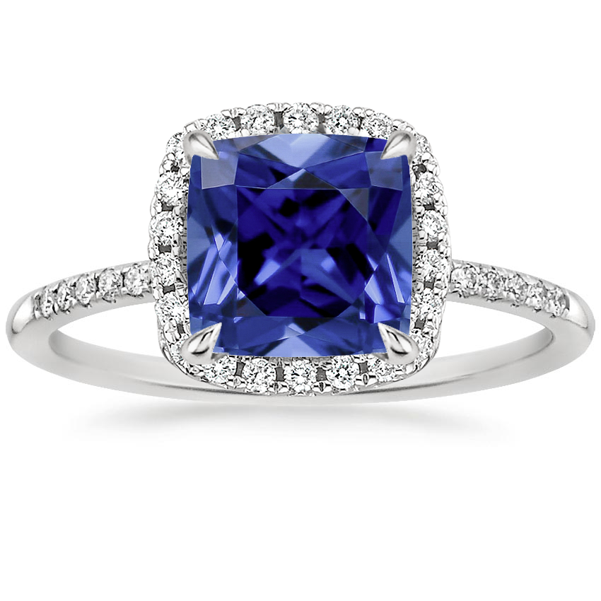 Sapphire Cambria Diamond Ring in 18K White Gold