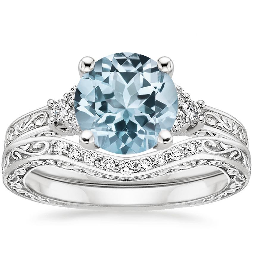 18KW Aquamarine Adorned Trio Diamond Bridal Set (1/4 ct. tw.), top view