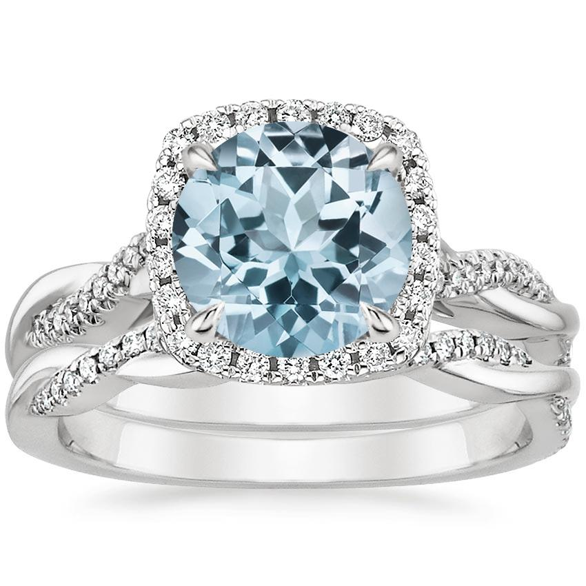 18KW Aquamarine Petite Twisted Vine Halo Diamond Bridal Set (1/3 ct. tw.), top view