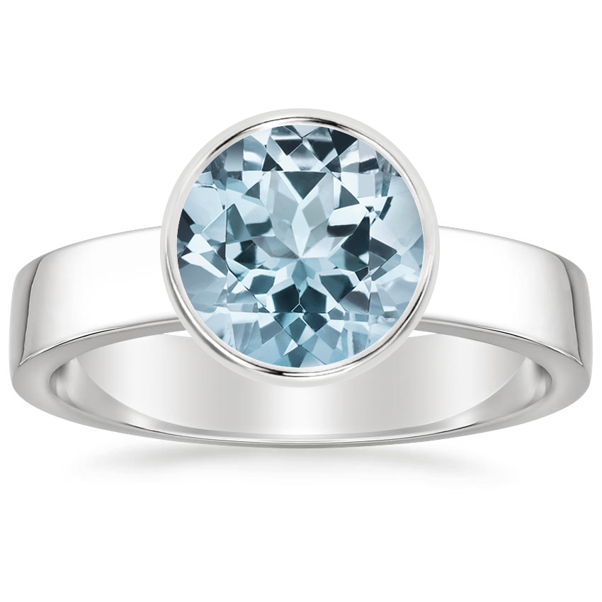 Aquamarine Vesper Ring in 18K White Gold