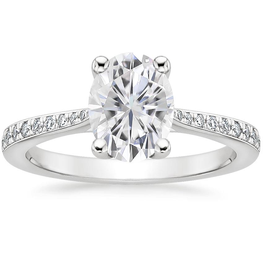 Moissanite Geneva Diamond Ring in 18K White Gold
