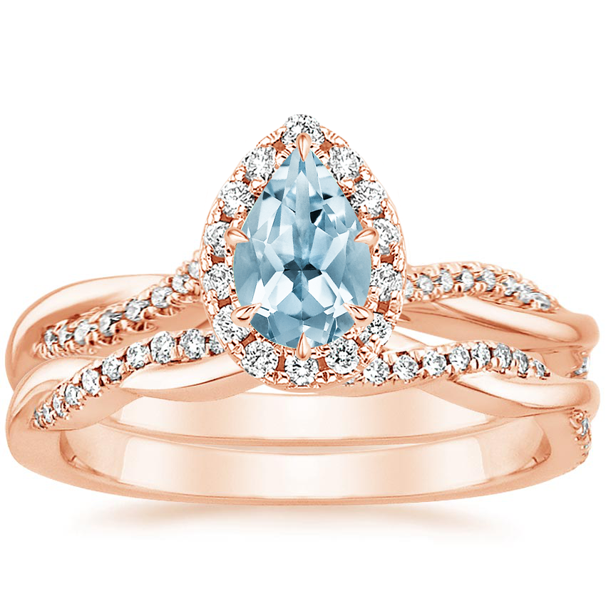 14KR Aquamarine Petite Twisted Vine Halo Diamond Bridal Set (1/3 ct. tw.), top view