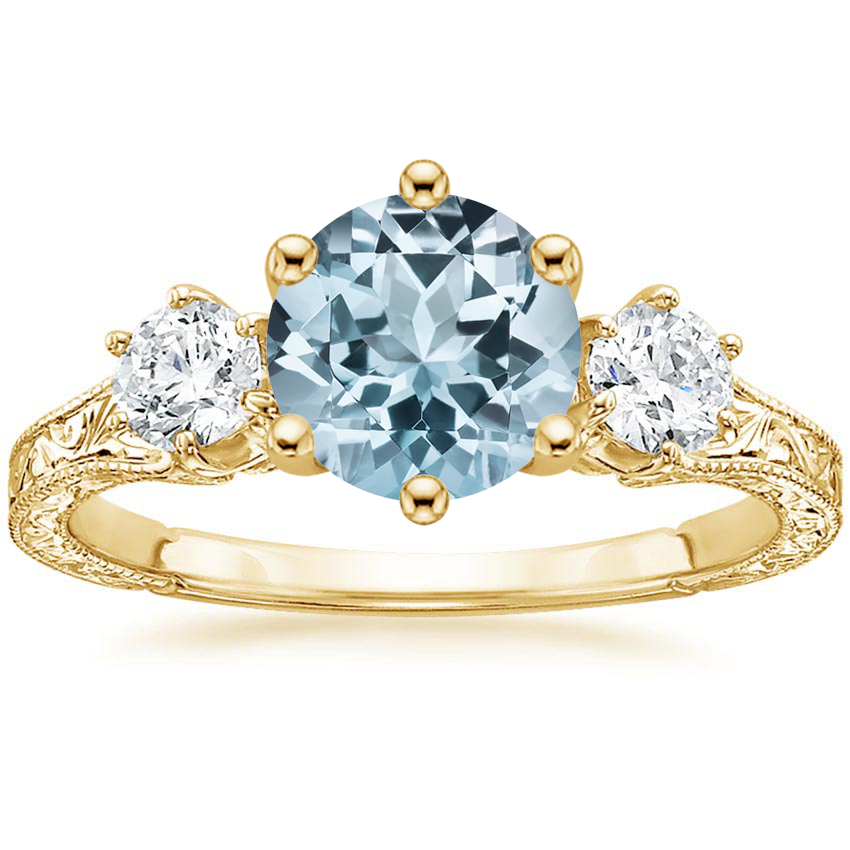 Yellow Gold Aquamarine Three Stone Hudson Diamond Ring (1/3 ct. tw.)