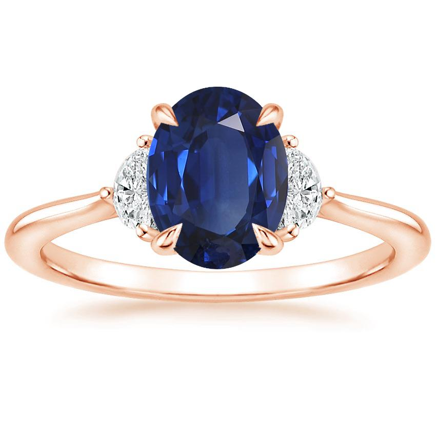 Rose Gold Sapphire Half Moon Diamond Ring