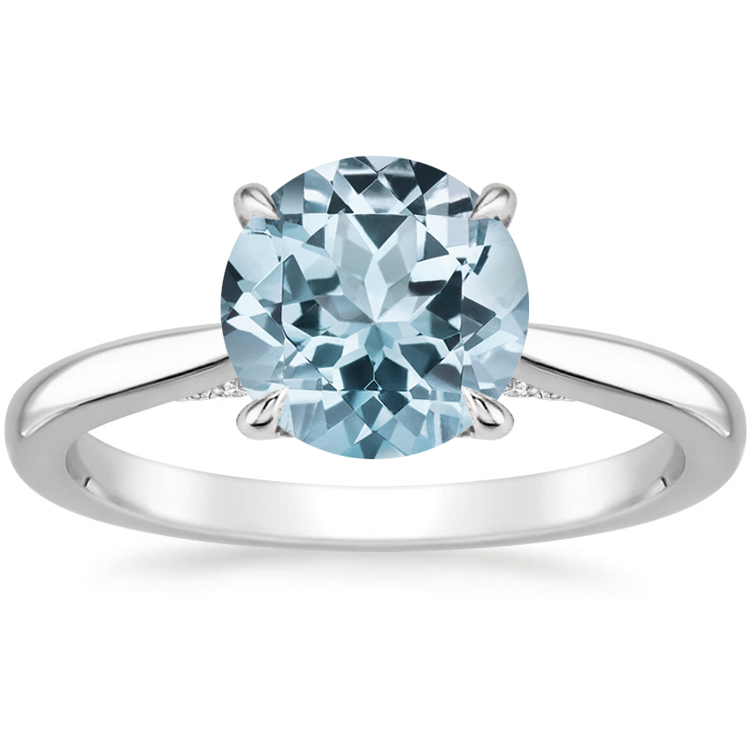 Aquamarine Dawn Diamond Ring in 18K White Gold