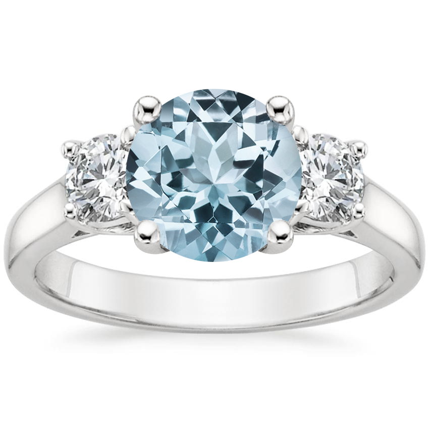 Aquamarine Three Stone Trellis Diamond Ring (1/2 ct. tw.) in 18K White Gold