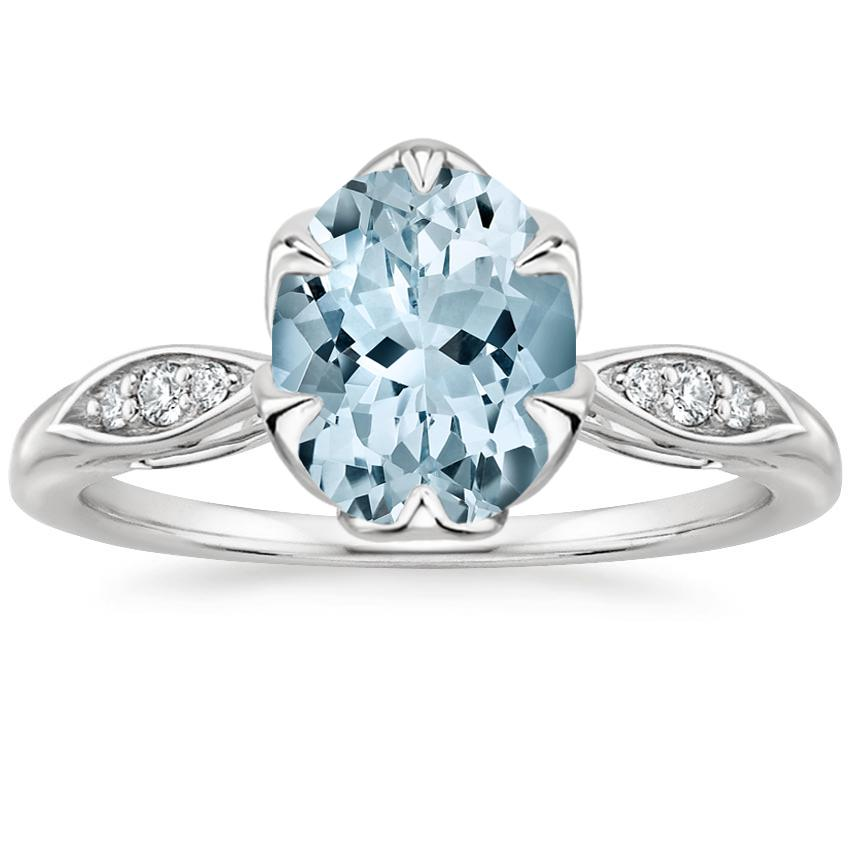 Aquamarine Peony Diamond Ring in 18K White Gold