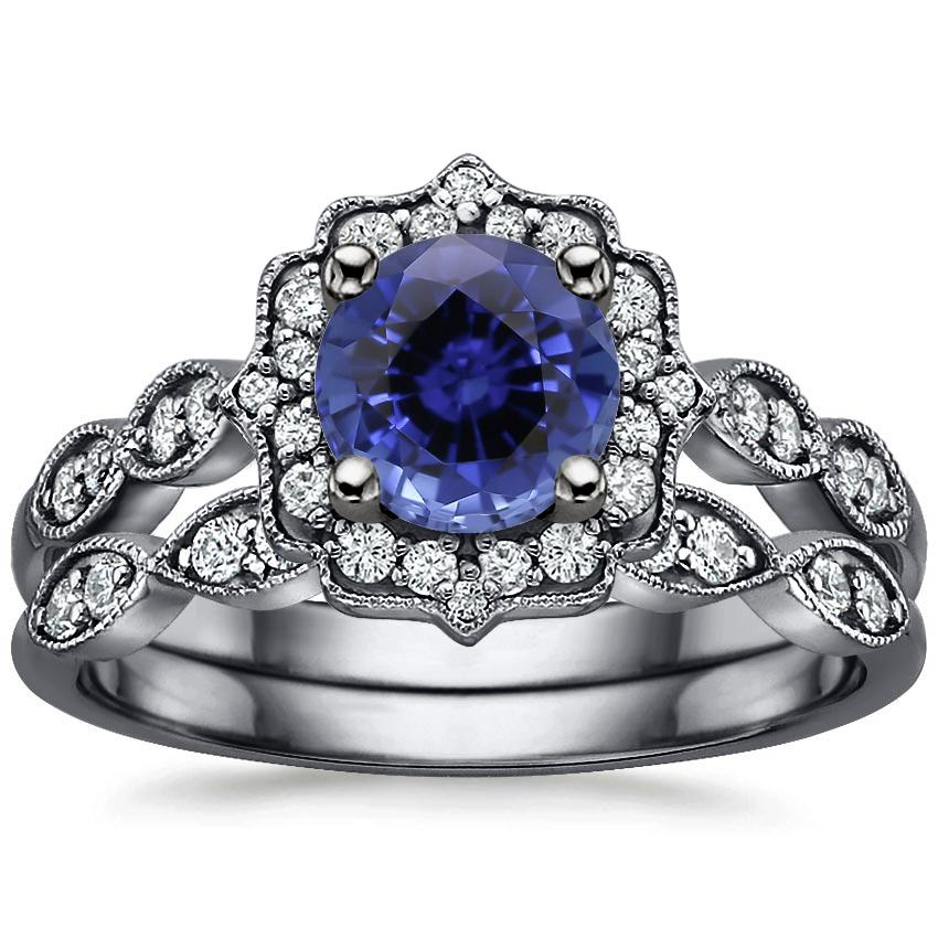 18KW Sapphire Black Rhodium Cadenza Halo Bridal Set (1/4 ct. tw.), top view
