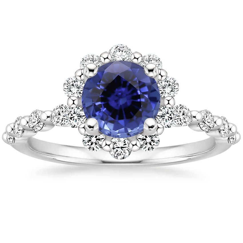 Sapphire Marseille Halo Diamond Ring (1/2 ct. tw.) in 18K White Gold
