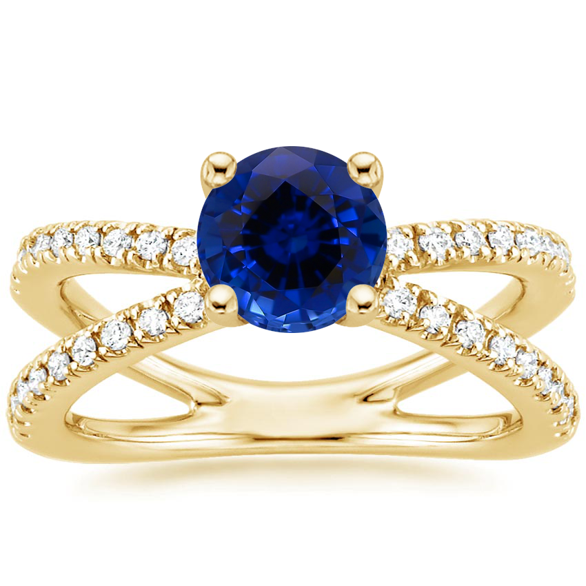 Yellow Gold Sapphire Bisou Diamond Ring (1/3 ct. tw.)