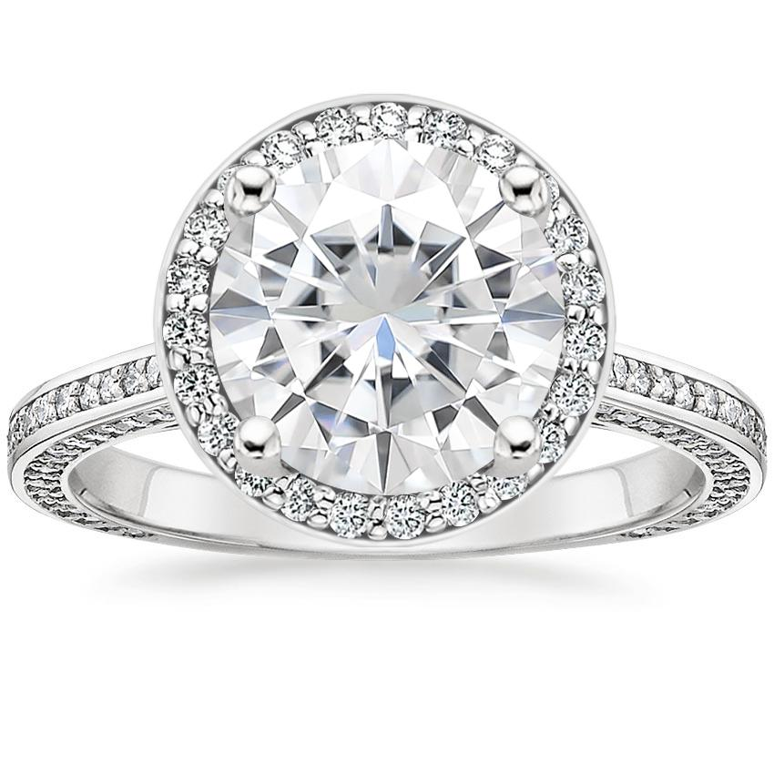 Moissanite Enchant Halo Diamond Ring in Platinum